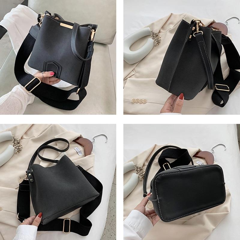 Vintage Bucket Bags for Women Large Capacity Shoulder Bag Matte PU Leather Messenger Female Big Casual Handbags Tote