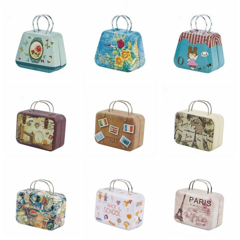 1/6 de 1/4 BJD SD muñeca bolsa accesorios de dibujos animados juguetes para los niños maletín de Metal bolsas hermosa maleta Retro moda para chicas regalos