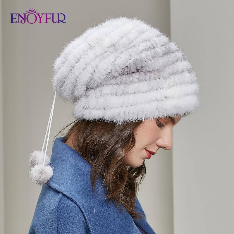 Женская шапка бини ENJOYFUR, свободная повседневная шапка большого размера из натурального меха норки и лисы, зимняя, теплые шляпки