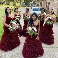 new mermaid aso ebi bridesmaid dresses extra puffy organza ruffles flouncing burgundy mermaid strapless plus size gowns