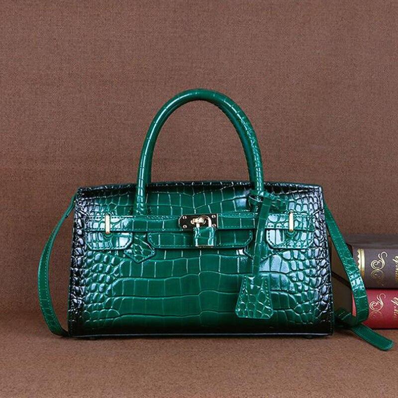 المرأة حقيبة جلدية أصلية فاخرة مصمم المرأة حقيبة يد جلدية جودة جلد البقر التمساح نمط حمل حقيبة جودة المرأة المحفظة