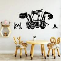 modern cartoon forklift pvc wall art home decoration accessories wall stickers home decor living room vinilo decorativo