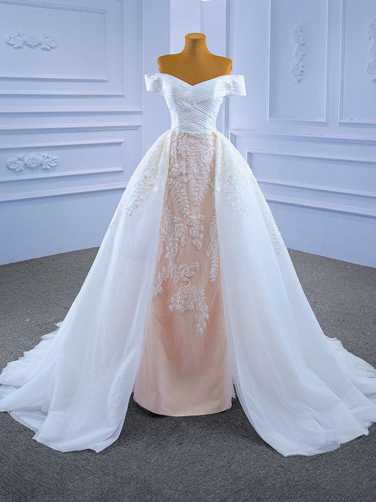 2021 فستان زفاف أنيق بدون حمالات يزين متقاطع على شكل قلب عاري الكتفين بأربطة قابلة للإزالة ذيل A Line Novia 67341