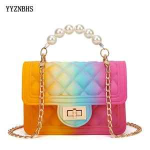 Summer Colorful Jelly Bag PVC Fashion Crossbody Bags For Women 2021 Shoulder Bags Small Chain Square Handbags Mini Messenger Bag