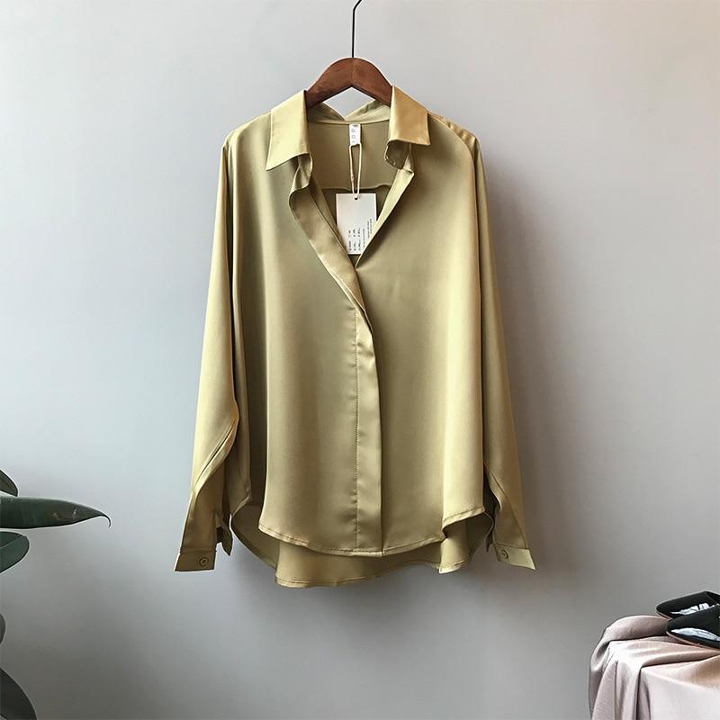 CMAZ Autumn Fashion Button Up Satin Silk Shirt Vintage Blouse Women Tops Office Lady Long Sleeves Fe