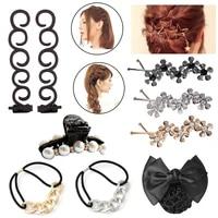 fashion pearl elastic hair bands rubber bands crystal hair clips hairclips hairgrips headdress girls women hair accessories