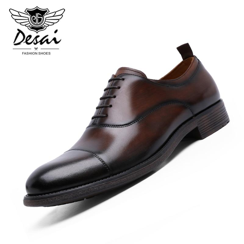 DESAI-حذاء جلد أصلي للرجال ، حذاء عمل متدرج ، حذاء أكسفورد من الجلد اللامع ، مقاس أوروبي 38-47