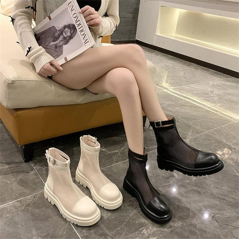 New Women's Shoes Fashion Trend Cool Solid Color PU Stitching Mesh Round Toe Low Heel Zipper Casual Summer Short Boots 6KF157