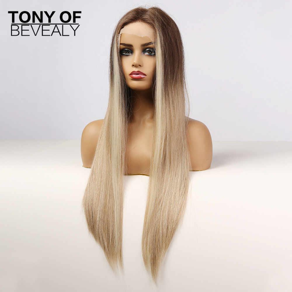 Lange Gerade Spitze Front Synthetische Perücken Braun Blond Ombre Haar Hohe Dichte Spitze Perücken Für Frauen Cosplay Hitze Beständig Faser Synthetic Lace Wigs Aliexpress