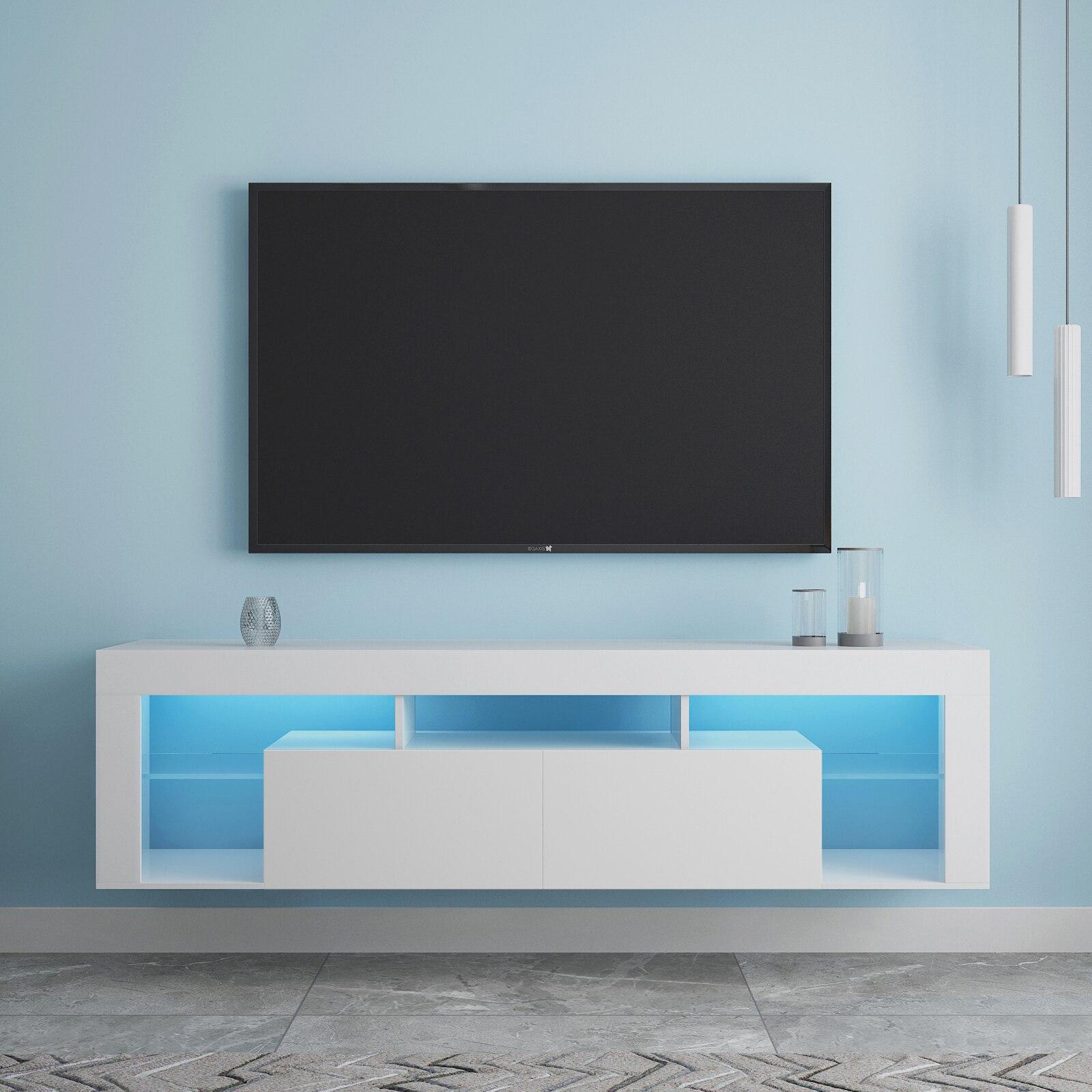 حامل تلفاز مثبت على الحائط 160x33x43 سنتيمتر LED خزانة تلفزيون عائمة أبيض/أسود [US-Stock]