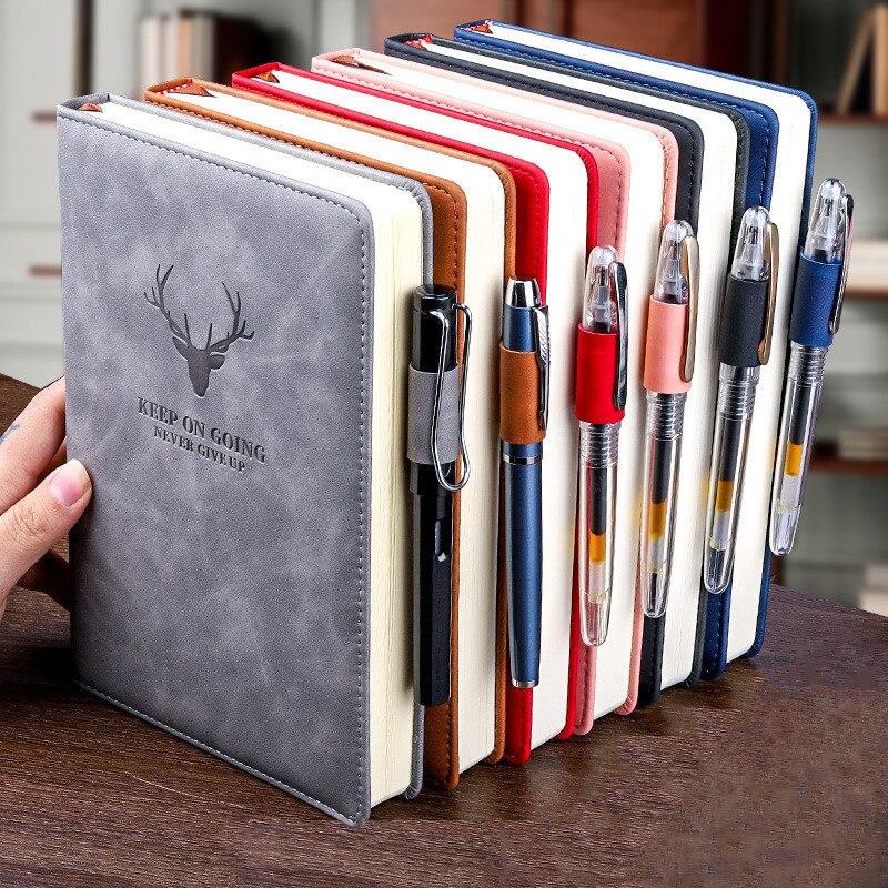 Блокнот формата A5, 360 страниц, супер толстый, из вощеной кожи, для ежедневного бизнеса, офиса, работы, блокнот, дневник, школьные принадлежнос...