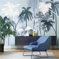 milofi3d decorative wallpaper mural nordic hand painted tropical plants scrub coconut tree indoor elegant background wall