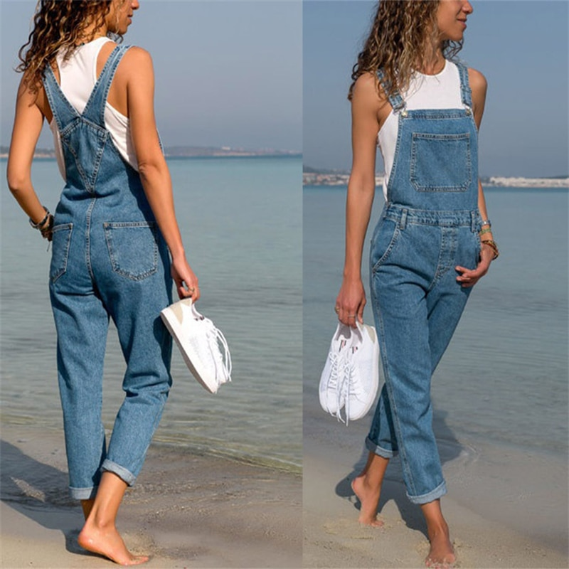 Summer Fashion Blue Casual Women Baggy Denim Jeans Plus Size Bib Full Length Overall Loose Hot Suspender Ladies Jumpsuit 2021 jumpsuit bodysuit arrival women ladies baggy bib full length pinafore dungaree overall solid loose causal jumpsuit pants summer
