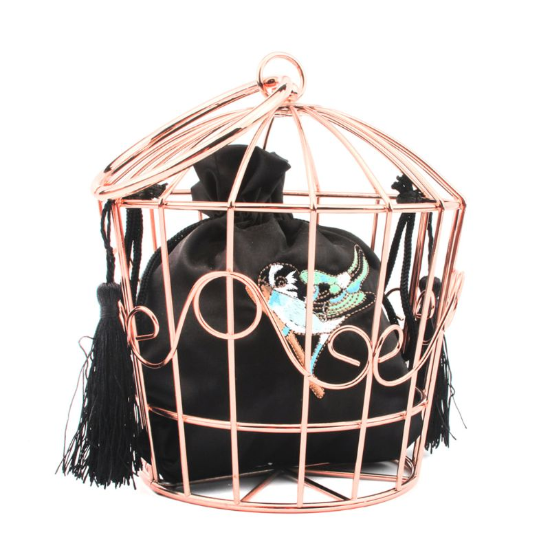 Women's Birdcage Evening Bag Clutch Metal Frame Embroidery Bucket Bird Cage Mini Purse Women Tassel Handbag A69C