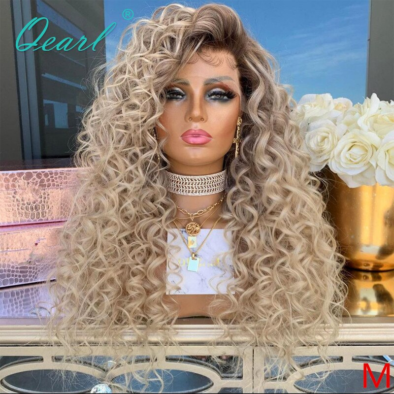 Light Blonde Human Hair Lace Front Wig 13x6 Kinky Curly Ombre Wigs Free Part Brazilian Remy Hair Ashy Brown Roots 150% Qearl