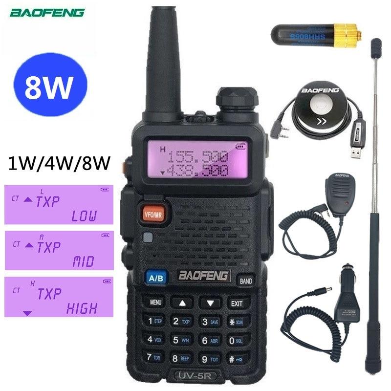 UV-5R وكي تالكي BAOFENG UV5R 8 واط Powerfu اسلكية تخاطب هام محطة راديو الماسح VHF UHF CB راديو الهواة 15 كجم طويلة المدى الأشعة فوق البنفسجية 5R