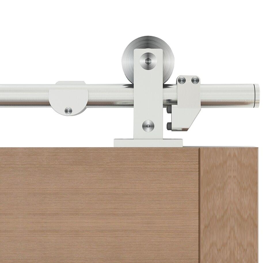 Diyhd 5ft-13ft montagem superior de aço inoxidável deslizante porta do celeiro trilha fácil montar celeiro armário de madeira kit de ferragem
