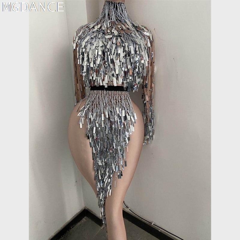 وامض الفضة الترتر هامش فستان قصير المرأة راقصة DS تظهر عالية طوق الزي عيد ميلاد قميص طويل الأكمام