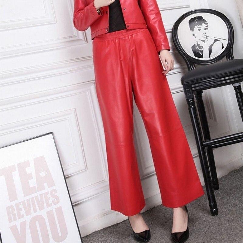 Caliente 2020 Rojo Negro cuero pantalones femeninos 100% piel de oveja Oficina señora suelta alta cintura pierna ancha pantalones mujeres tamaño grande 4XL