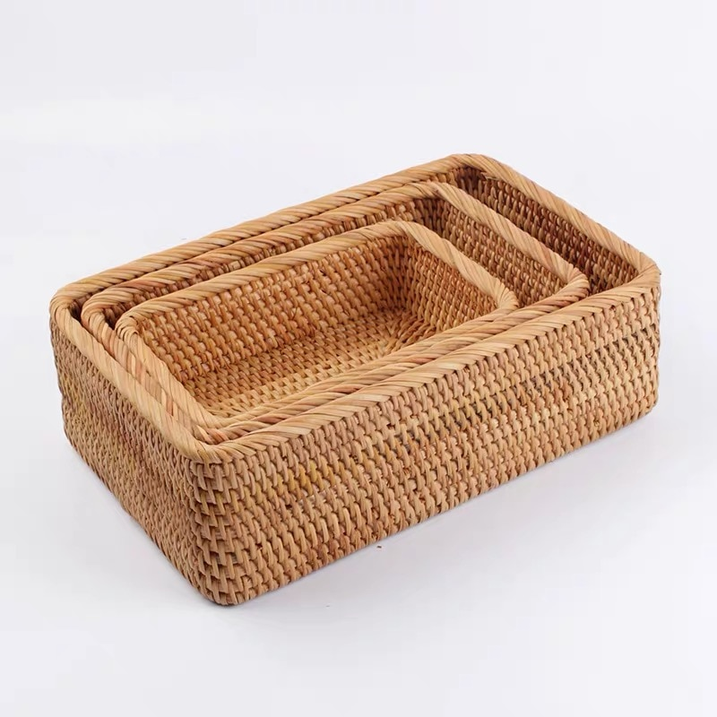 3 pcs / lot snack candy storage food Rattan box hand-woven sundries food container fruit basket organizer box for cosmetics gift