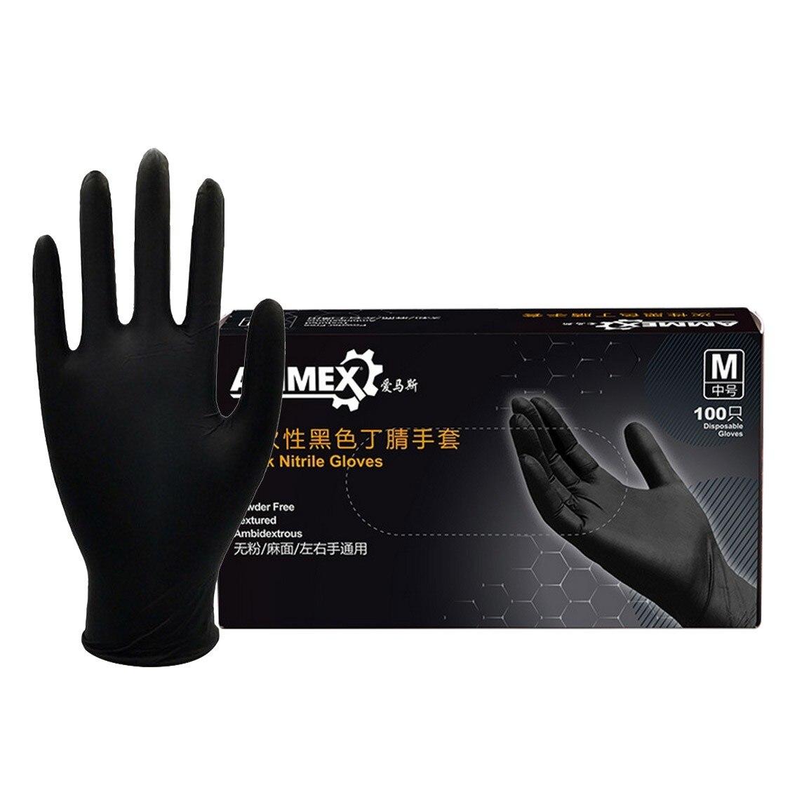 Guantes de goma para lavar platos negros cómodos guantes desechables mecánicos de nitrilo guantes de examen guantes para lavar platos