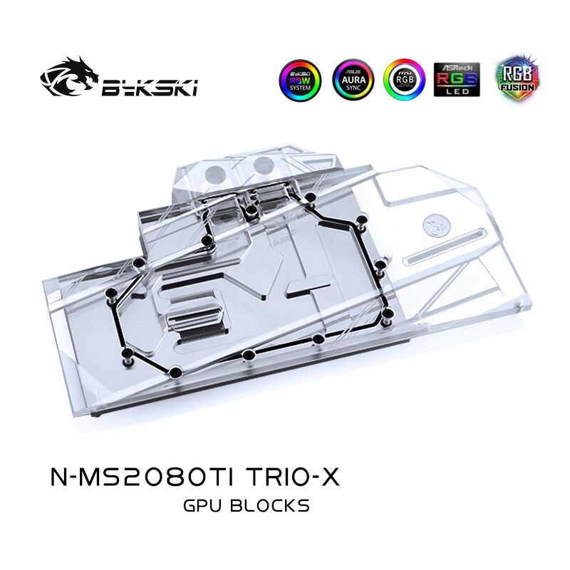 Bykski Water Block use for MSI RTX2080TI GAMING X TRIO (V371-026R) / Full Cover Copper Radiator Block/3PIN 5V RGB / 4PIN 12V RGB