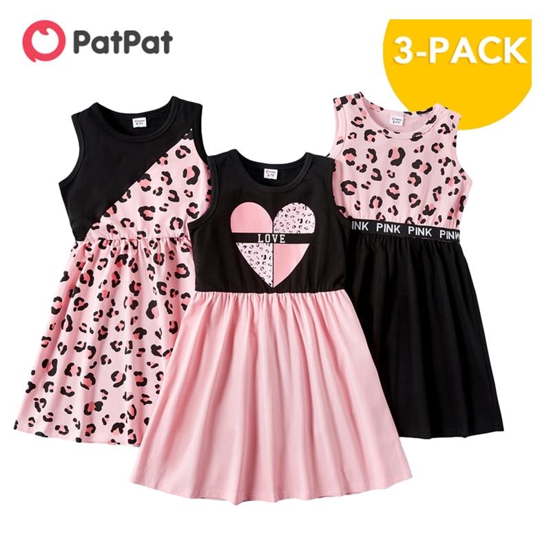 aliexpress - PatPat New Arrival 2021 Summer 3-piece Kids Leopard Love Dresses Set Kids Girls Sleeveless Dress Children's Clothing