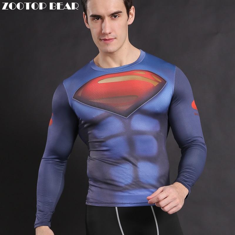 Superman T shirt Compression Men Armor Superhero Costume Clothing batman vs superman Tops Long Sleeve Tees ZOOTOP BEAR