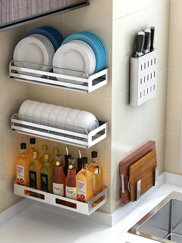 رف مطبخ من الفولاذ المقاوم للصدأ 304 ، وعاء معلق على الحائط ورف أطباق ، مجموعة بهارات ، حامل سكاكين