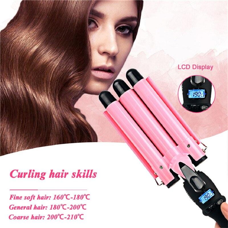 Rizador de pelo automático de 3 barriles con férula para permanente, rizador de pelo de cerámica, rizador de pelo, rulos, herramientas de estilismo
