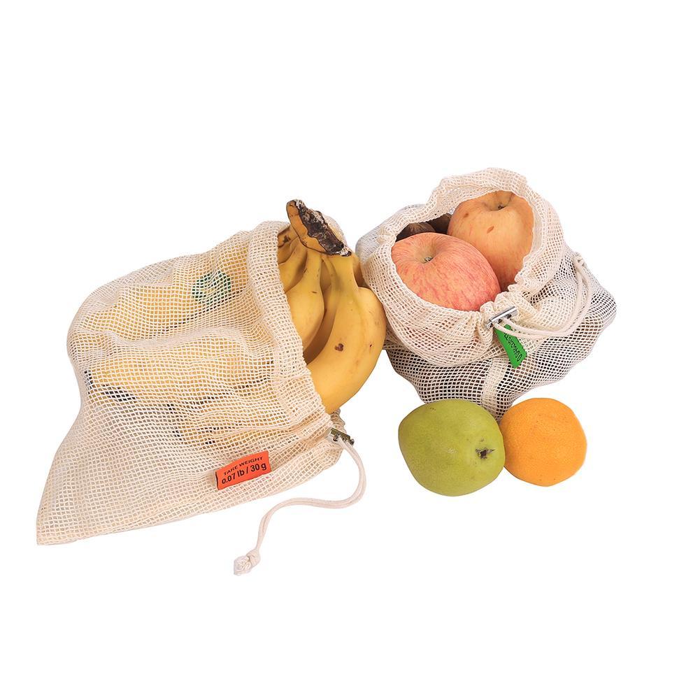 Bolsas reutilizables de malla vegetal de algodón para supermercado bolsa de almacenamiento para la compra de frutas vegetales bolsas para almacenamiento de juguetes con cordón lavable