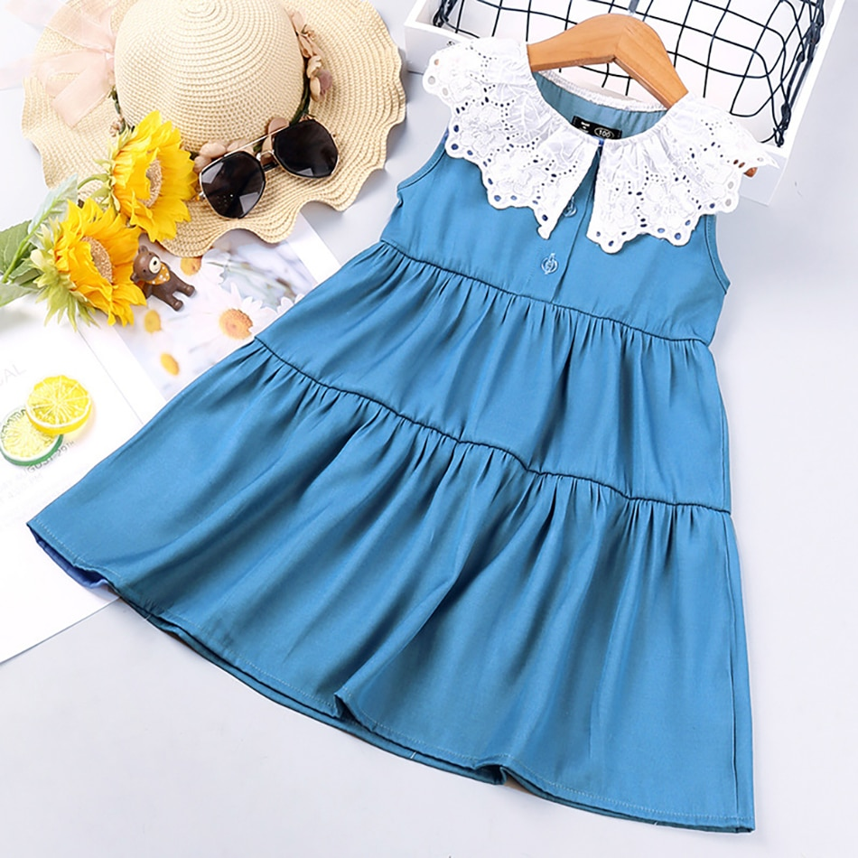VOGUEON Girls Dress 2021 New Lace Children's Clothing Summer Korean Style Peter pan Collar Sleeveless Baby Princess Dresses Kids