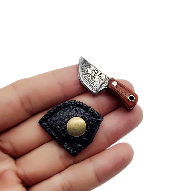 Portachiavi coltello da cucina piccolo mini portatile EDC lama fissa vera taglierina per lettere modello di coltello accessori artigianato