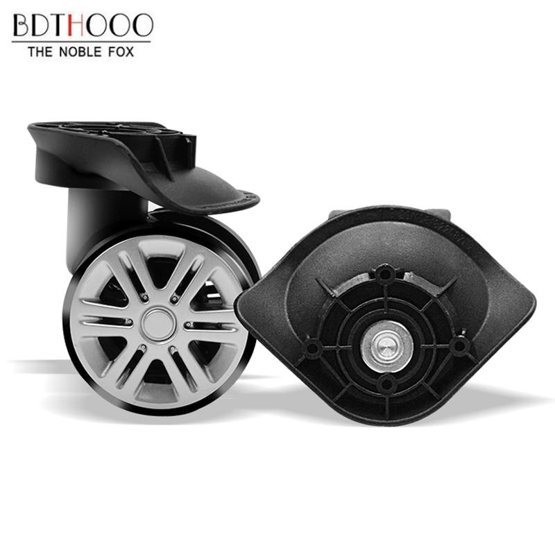 Бесшумные двухрядные сменные колеса для чемоданов, для ремонта чемоданов, колесные диски, детали для чемоданов, черная резиновая тележка A19 недорого