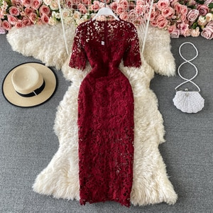 A-Line Elegant Dress Vintage Solid Wine Red Mesh Party Summer Bodycon Dresses Women Boho 2021 Embroidery Lace Sexy Short Sleeve