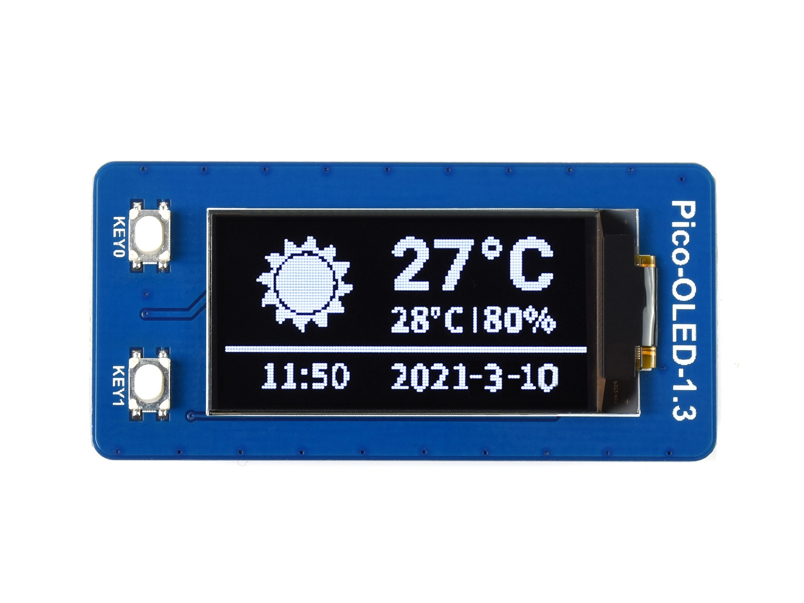 Waveshare-Módulo de pantalla OLED de 1,3 pulgadas para Raspberry Pi Pico, 64x128...