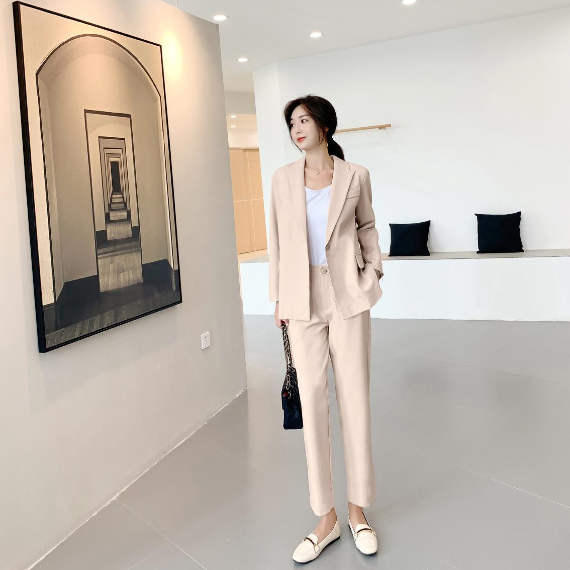 Autumn Winter Women Lace Up Pant Suit Notched Blazer Jacket &  Office Wear  Female Sets