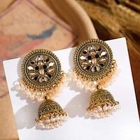 flower indian jhumka earrings for women bohemian retro gold bell pearl beads tibetan earrings oorbellen