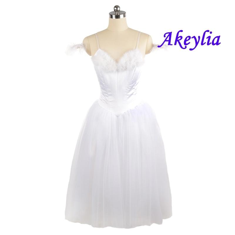 White Romantic Ballet tutu sleeping beauty Dress Professional La Sylphide Ballerina No elastic Women Long dress JNBL98