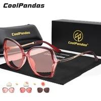 2021 oversized square photochromic sunglasses women polarized luxury brand trendy flat top red brown lens vintage shades uv400