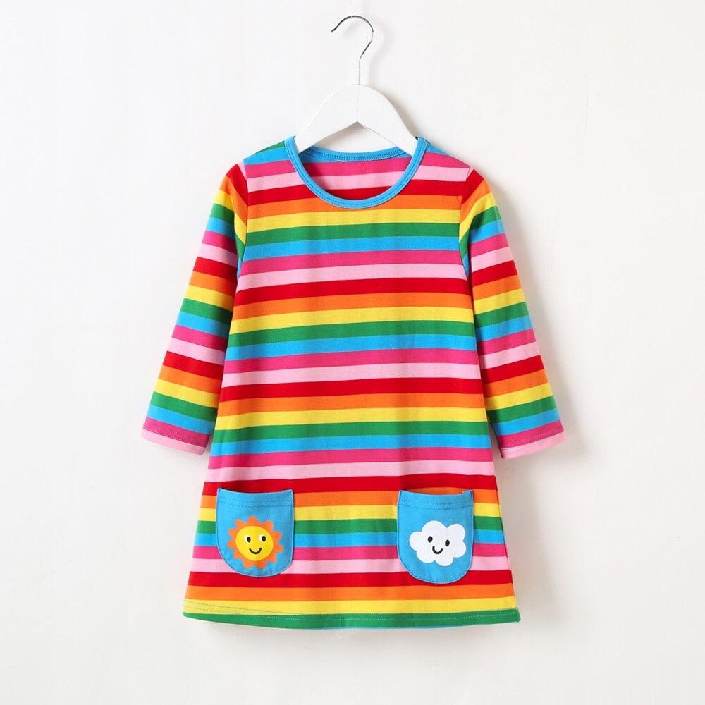 ¡Novedad! Ropa a rayas de algodón suave para bebés, Otoño Invierno Primavera, ropa de manga larga con arcoíris, vestido de fiesta de princesa.