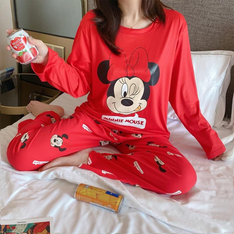 2pcs disney cartoon women long sleeve pajama set mickey minnie sleepwear princess printing sweet cute stripe homewear night suit