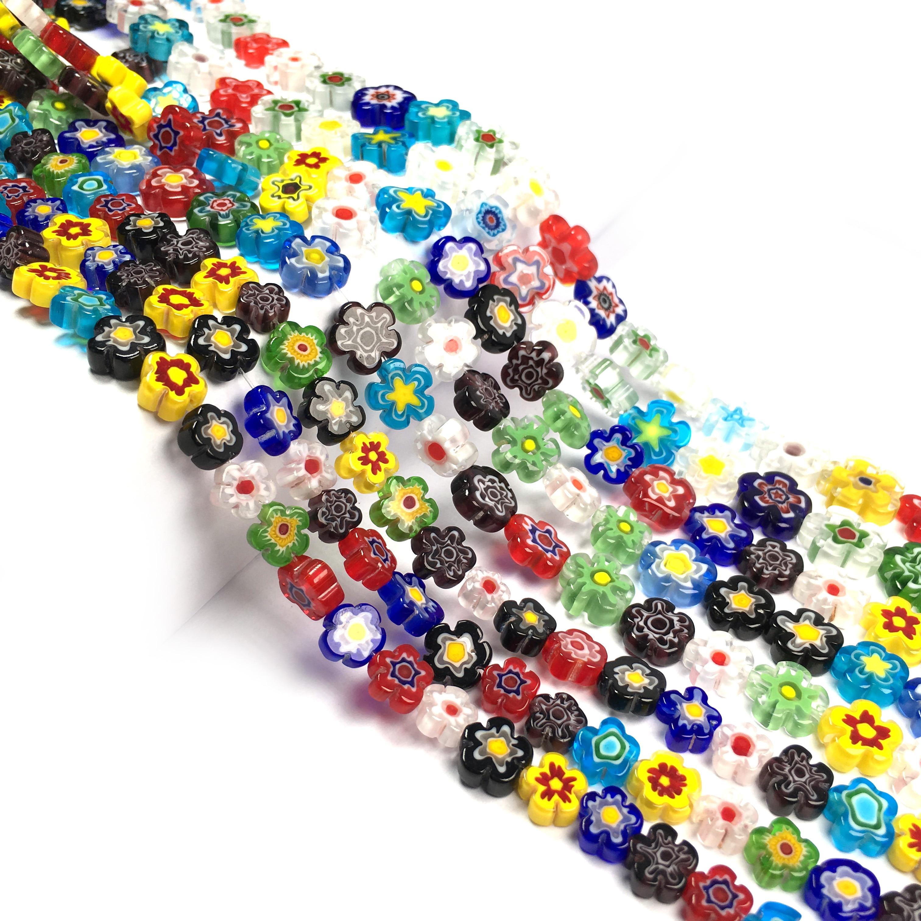 Venta al por mayor dijes cuentas de piedra de cristal Millefiori cuentas de cristal de Murano con forma de flor para hacer joyería collar pulsera DIY 9/11 /13