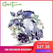 SANTUZZA bague en argent pour les femmes pur 925 en argent Sterling brillant massif incroyable bague violette bijoux de mode émail à la main