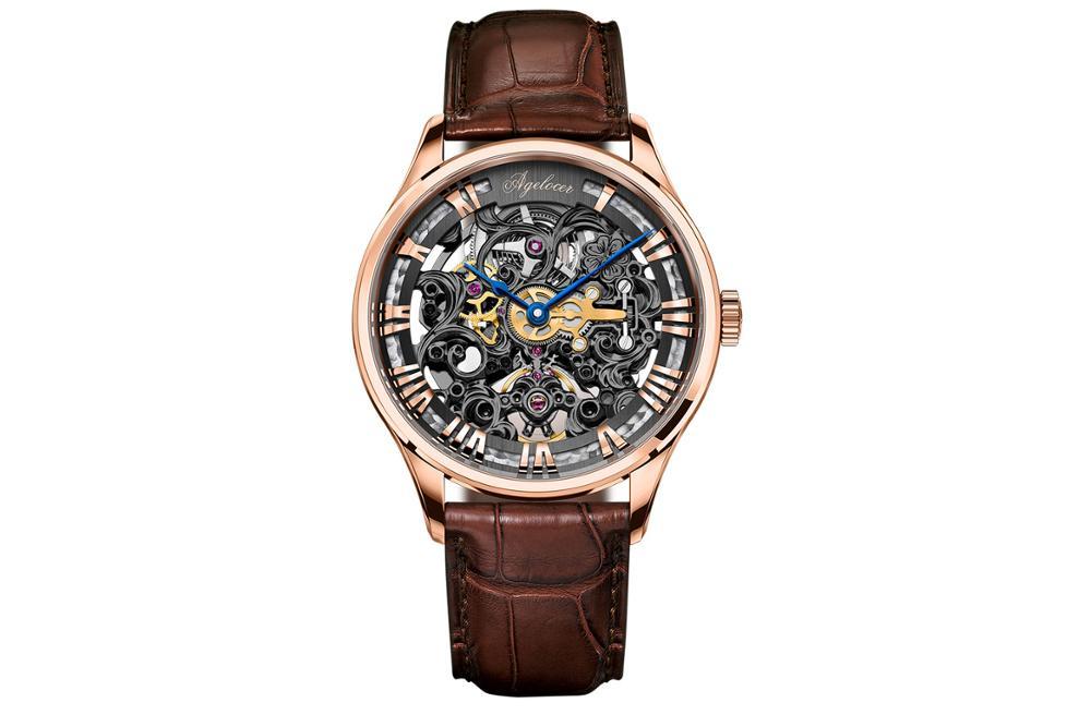 AGELOCER-ساعة يد فاخرة ، مقياس 4710 ، حركة ميكانيكية ، هيكل عظمي