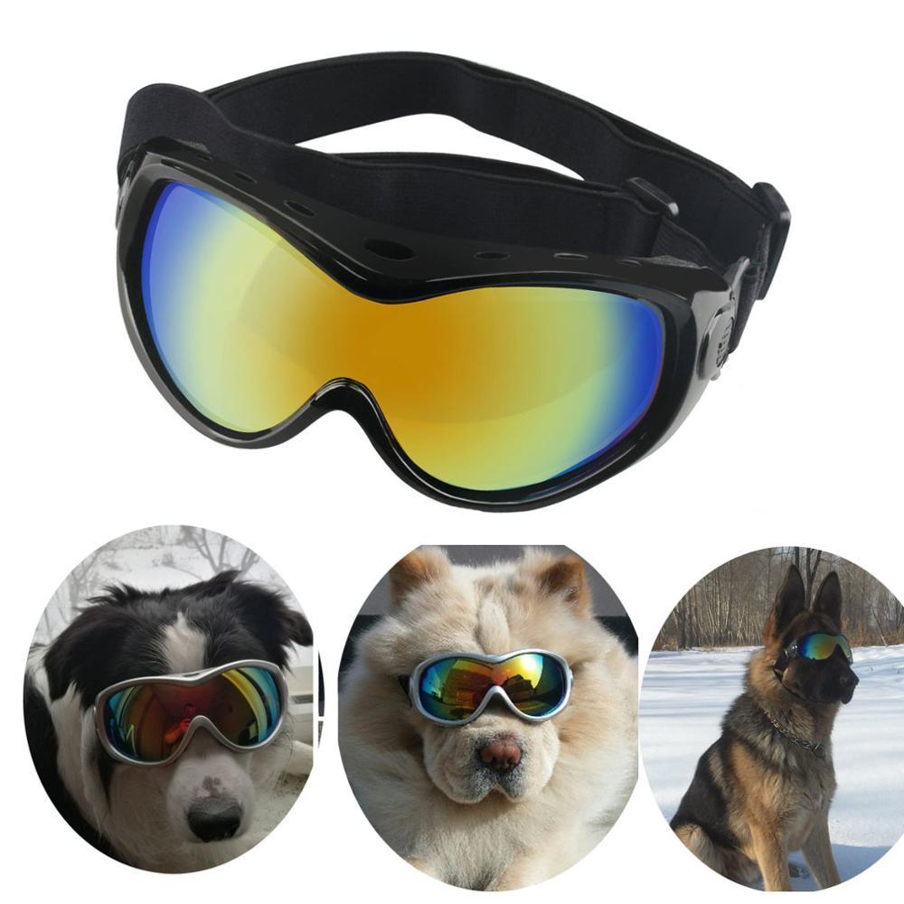 Регулируемые водонепроницаемые солнцезащитные очки для собак, большие собачьи очки, ветрозащитные солнцезащитные очки, очки с УФ-защитой