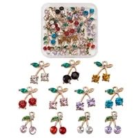 30pcs colorful metal rhinestone cherry pendants crystal fruit charms for diy necklace bracelet earring dangles jewelry making