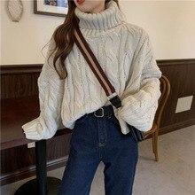 Turtleneck Sweater Women Loose Outer Wear 2021 Winter Retro Twist Korean Style Fashion Ladies All-ma