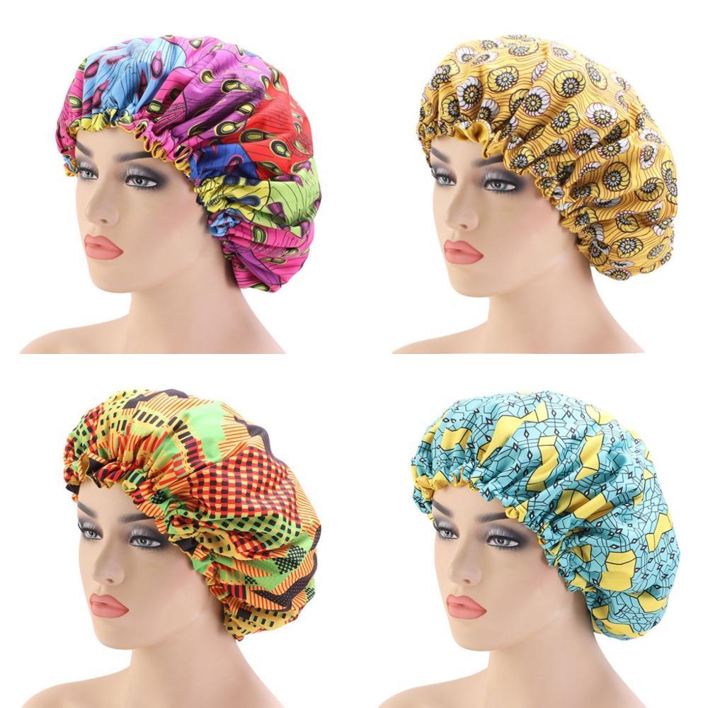 New Extra Large Sleep Cap African Print Fabric Ankara Hair Bonnet Satin Lined Sleep Cap Night Sleep Hat Ladies Children Turban