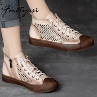 fmetyasi high top shoes vintage hollow white sneakers soft leather casual shoes rubber vulcanize shoes for ladies 2021 summer